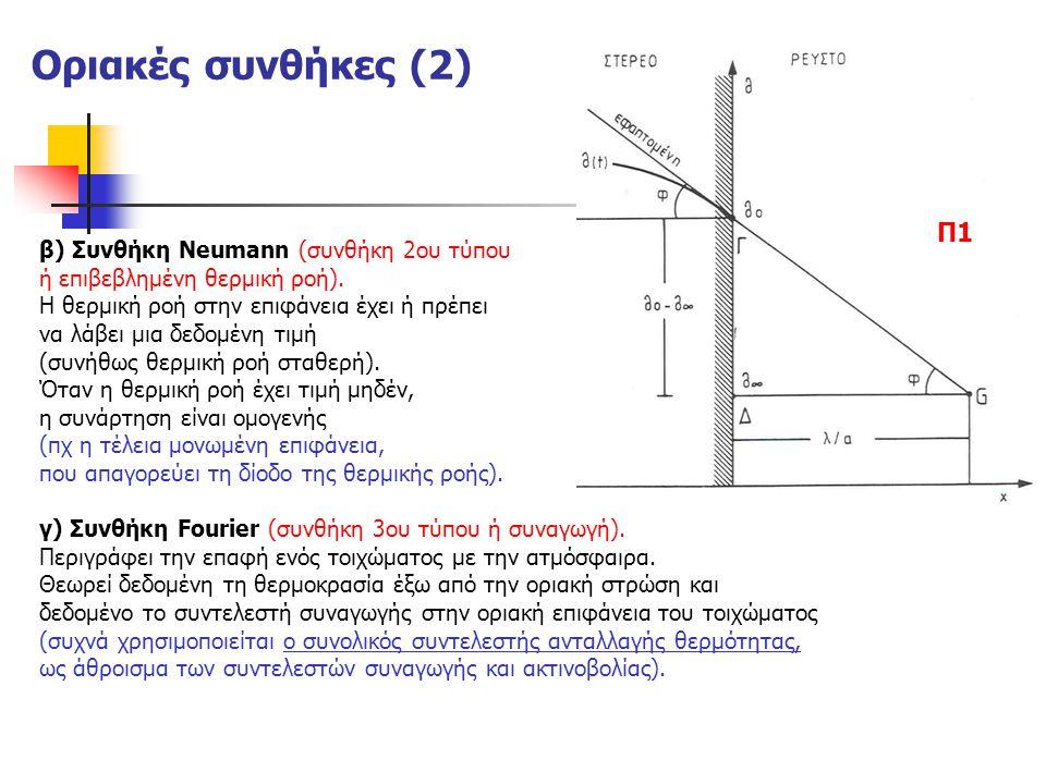 Οριακές συνθήκες (2) β) Συνθήκη Neumann (συνθήκη 2ου τύπου ή επιβεβλημένη θερμική ροή). Η θερμική ροή στην επιφάνεια έχει ή πρέπει να λάβει μια δεδομέ