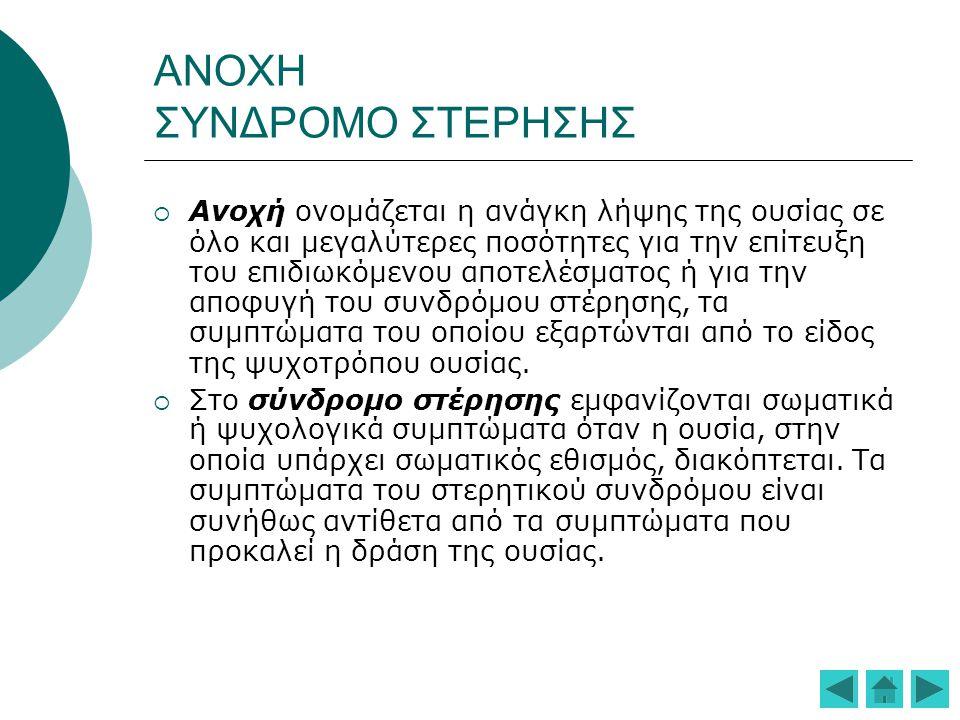 ΑΙΤΙΟΠΑΘΟΓΕΝΕΙΑ  Γενετική προδιάθεση(για τον αλκοολισμό και τα οπιοειδή υποθέσεις για κληρονομούμενες διαφοροποιήσεις στην ανάπτυξη ανοχής από το άτομο ή στους υποδοχείς οπιοειδών ή στη δραστηριότητα των ενδορφινών και των νευροδιαβιβαστών)  Οικογενής εξάρτηση για αλκοόλ, καπνό, όπιο συνηγορεί για ιδιοσυστασιακή ευαλωτότητα στη χρήση ουσιών  Προσωπικότητα(αν και δεν υπάρχει κάποια συγκεκριμένη προσωπικότητα που να σχετίζεται ειδικά με την παθολογική χρήση ουσιών, εντούτοις στοιχεία Αντικοινωνικής και Μεταιχμιακής Διαταραχής της Προσωπικότητας φαίνεται να προδιαθέτουν)  Ψυχιατρικές διαταραχές(Διαταραχή της Διαγωγής, Αντικοινωνική και Μεταιχμιακή Διαταραχή της Προσωπικότητας, Σχιζοφρένεια, Διαταραχές της Διάθεσης, Αγχώδεις Διαταραχές και Σωματόμορφες Διαταραχές)