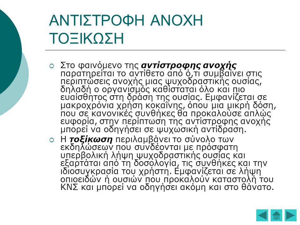 ΑΙΤΙΟΠΑΘΟΓΕΝΕΙΑ  Φαρμακολογικές ιδιότητες της ουσίας (οπιοειδή, καταπραϋντικά, υπνωτικά και αγχολυτικά :κατά του άγχους, διεγερτικά:αίσθηση ζωντάνιας, αυξημένης ενεργητικότητας και εγρήγορσης, ψευδαισθησιογόνα:απόδραση απ' την πραγματικότητα)  Ταχύτητα δράσης, διάρκεια δράσης, τρόπος χορήγησης(ταχεία έναρξη δράσης, βραχεία διάρκεια δράσης π.χ.