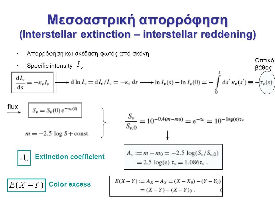 Μεσοαστρική απορρόφηση (Interstellar extinction – interstellar reddening) Απορρόφηση και σκέδαση φωτός από σκόνη Specific intensity Οπτικό βάθος flux