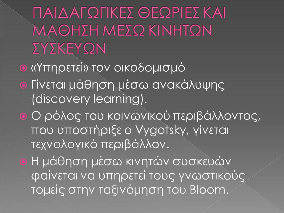  «Υπηρετεί» τον οικοδομισμό  Γίνεται μάθηση μέσω ανακάλυψης (discovery learning).