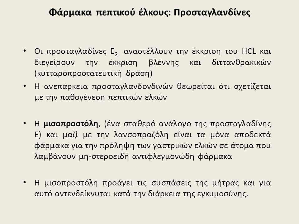 Φάρμακα πεπτικού έλκους: Προσταγλανδίνες Οι προσταγλαδίνες Ε 2 αναστέλλουν την έκκριση του HCL και διεγείρουν την έκκριση βλέννης και διττανθρακικών (