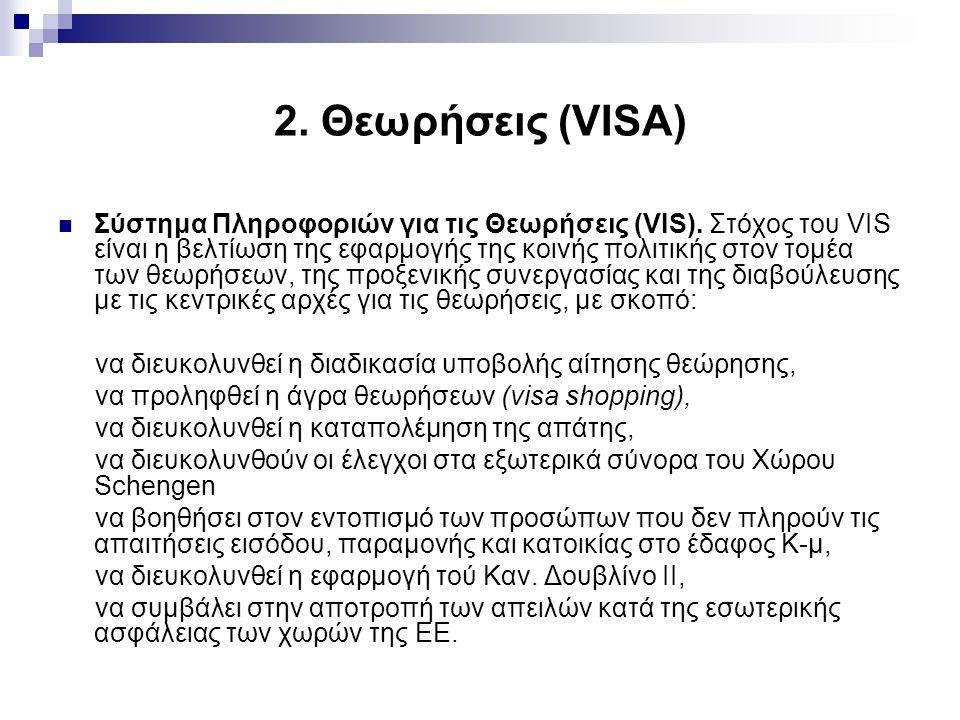 2.Θεωρήσεις (VISA) Σύστημα Πληροφοριών για τις Θεωρήσεις (VIS).