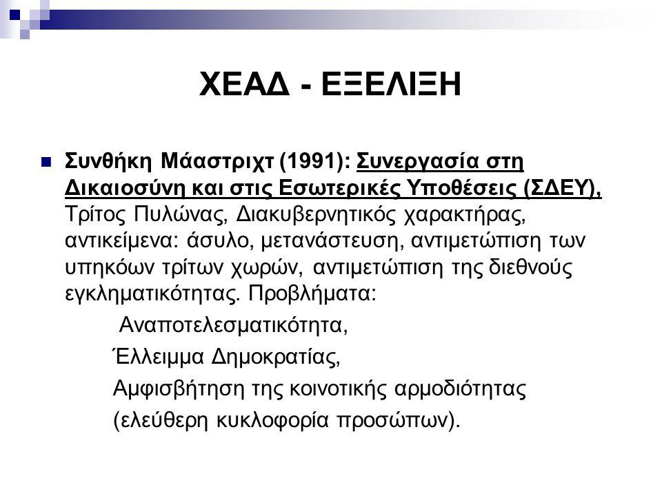ΧΕΑΔ - ΕΞΕΛΙΞΗ Συνθήκη Μάαστριχτ (1991): Συνεργασία στη Δικαιοσύνη και στις Εσωτερικές Υποθέσεις (ΣΔΕΥ), Τρίτος Πυλώνας, Διακυβερνητικός χαρακτήρας, αντικείμενα: άσυλο, μετανάστευση, αντιμετώπιση των υπηκόων τρίτων χωρών, αντιμετώπιση της διεθνούς εγκληματικότητας.