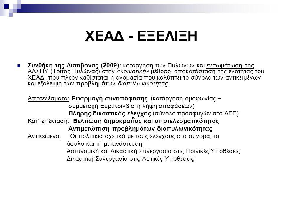 ΧΕΑΔ - ΕΞΕΛΙΞΗ Συνθήκη της Λισαβόνας (2009): κατάργηση των Πυλώνων και ενσωμάτωση της ΑΔΣΠΥ (Τρίτος Πυλώνας) στην «κοινοτική» μέθοδο, αποκατάσταση της ενότητας του ΧΕΑΔ, που πλέον καθίσταται η ονομασία που καλύπτει το σύνολο των αντικειμένων και εξάλειψη των προβλημάτων διαπυλωνικότητας.