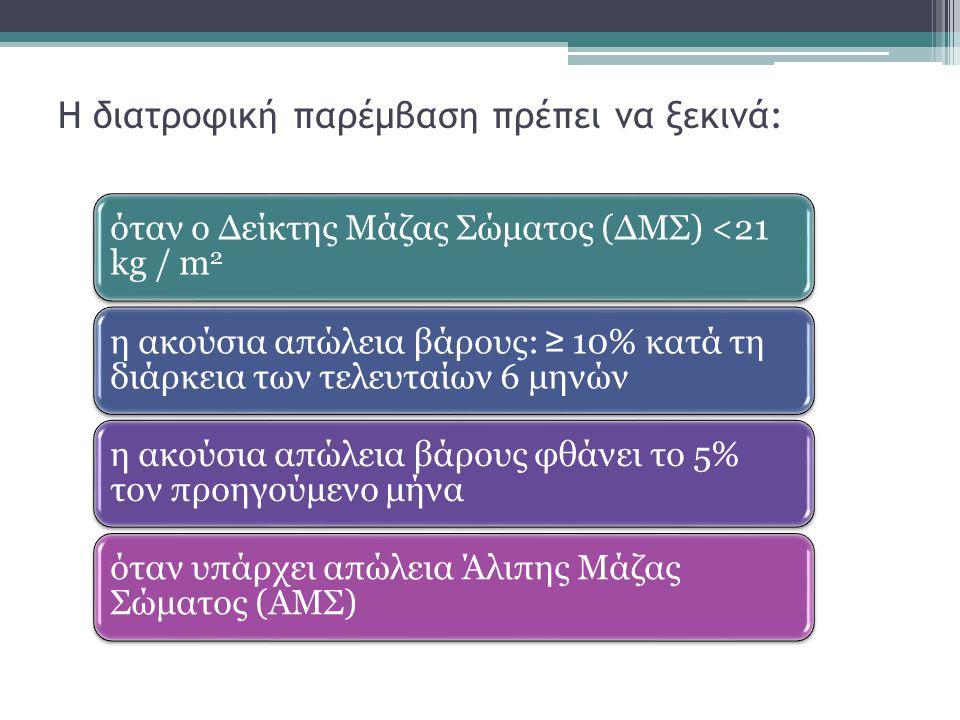Η διατροφική παρέμβαση πρέπει να ξεκινά: όταν ο Δείκτης Μάζας Σώματος (ΔΜΣ) <21 kg / m 2 η ακούσια απώλεια βάρους: ≥ 10% κατά τη διάρκεια των τελευταί
