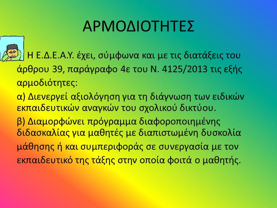 ΑΡΜΟΔΙΟΤΗΤΕΣ Η Ε.Δ.Ε.Α.Υ. έχει, σύμφωνα και με τις διατάξεις του άρθρου 39, παράγραφο 4ε του Ν. 4125/2013 τις εξής αρμοδιότητες: α) Διενεργεί αξιολόγη