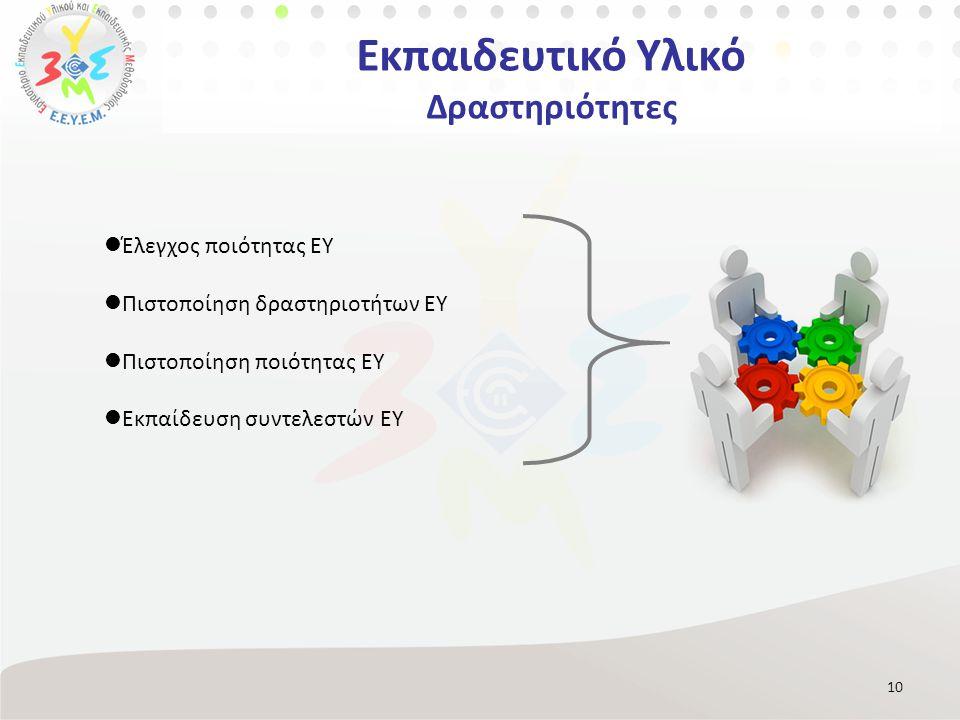 Εκπαιδευτικό Υλικό Δραστηριότητες 10 Έλεγχος ποιότητας ΕΥ Πιστοποίηση δραστηριοτήτων ΕΥ Πιστοποίηση ποιότητας ΕΥ Εκπαίδευση συντελεστών ΕΥ