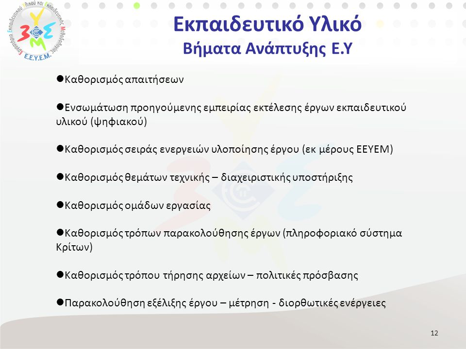 Εκπαιδευτικό Υλικό Βήματα Ανάπτυξης Ε.Υ 12 Καθορισμός απαιτήσεων Ενσωμάτωση προηγούμενης εμπειρίας εκτέλεσης έργων εκπαιδευτικού υλικού (ψηφιακού) Καθορισμός σειράς ενεργειών υλοποίησης έργου (εκ μέρους ΕΕΥΕΜ) Καθορισμός θεμάτων τεχνικής – διαχειριστικής υποστήριξης Καθορισμός ομάδων εργασίας Καθορισμός τρόπων παρακολούθησης έργων (πληροφοριακό σύστημα Κρίτων) Καθορισμός τρόπου τήρησης αρχείων – πολιτικές πρόσβασης Παρακολούθηση εξέλιξης έργου – μέτρηση - διορθωτικές ενέργειες