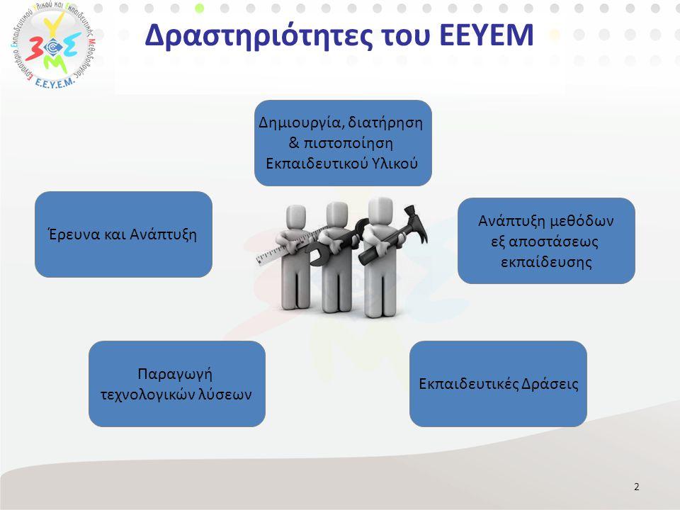 Δραστηριότητες του ΕΕΥΕΜ 2 Δημιουργία, διατήρηση & πιστοποίηση Εκπαιδευτικού Υλικού Ανάπτυξη μεθόδων εξ αποστάσεως εκπαίδευσης Παραγωγή τεχνολογικών λύσεων Εκπαιδευτικές Δράσεις Έρευνα και Ανάπτυξη