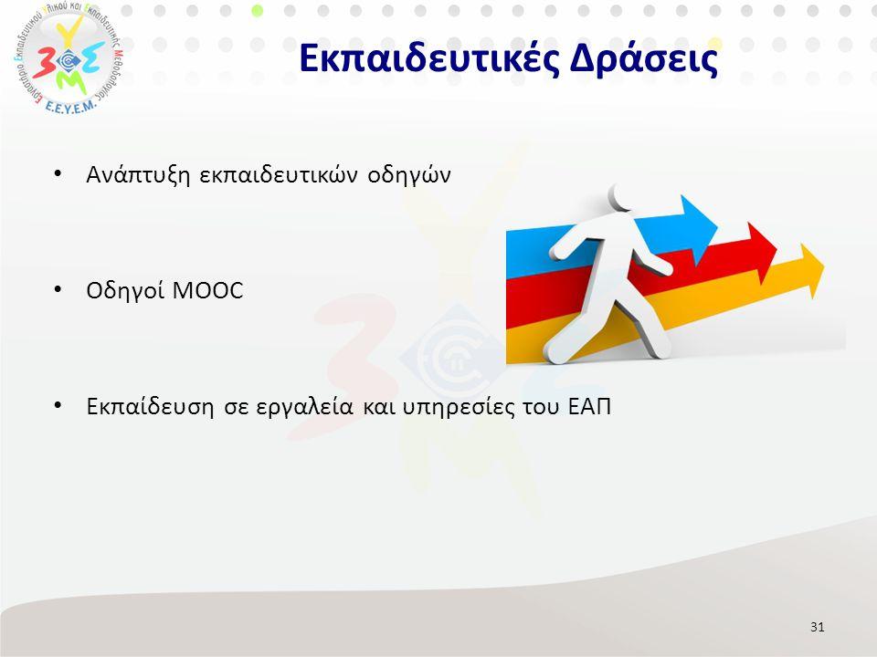 Ανάπτυξη εκπαιδευτικών οδηγών Οδηγοί MOOC Εκπαίδευση σε εργαλεία και υπηρεσίες του ΕΑΠ 31 Εκπαιδευτικές Δράσεις