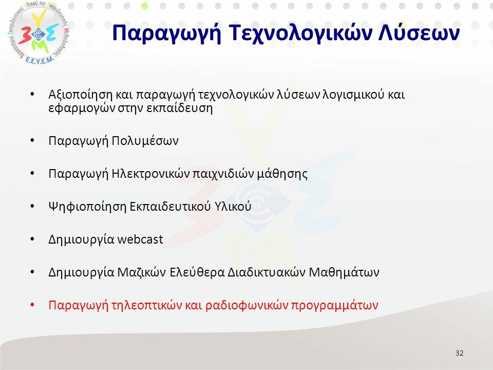 Αξιοποίηση και παραγωγή τεχνολογικών λύσεων λογισμικού και εφαρμογών στην εκπαίδευση Παραγωγή Πολυμέσων Παραγωγή Ηλεκτρονικών παιχνιδιών μάθησης Ψηφιοποίηση Εκπαιδευτικού Υλικού Δημιουργία webcast Δημιουργία Μαζικών Ελεύθερα Διαδικτυακών Μαθημάτων Παραγωγή τηλεοπτικών και ραδιοφωνικών προγραμμάτων 32 Παραγωγή Τεχνολογικών Λύσεων