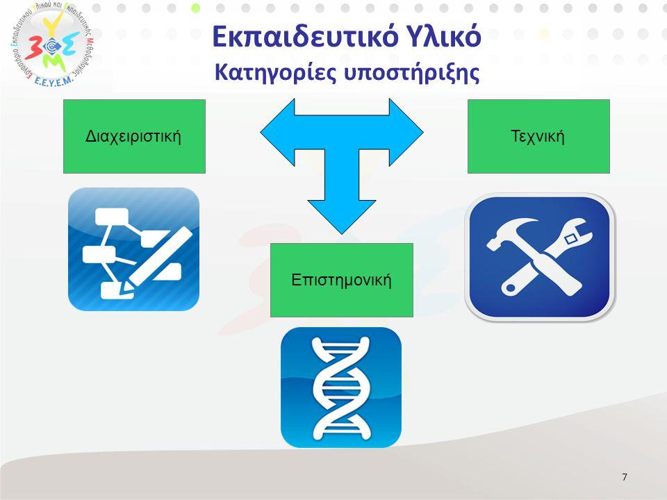 Εκπαιδευτικό Υλικό Κατηγορίες υποστήριξης 7 Επιστημονική ΤεχνικήΔιαχειριστική