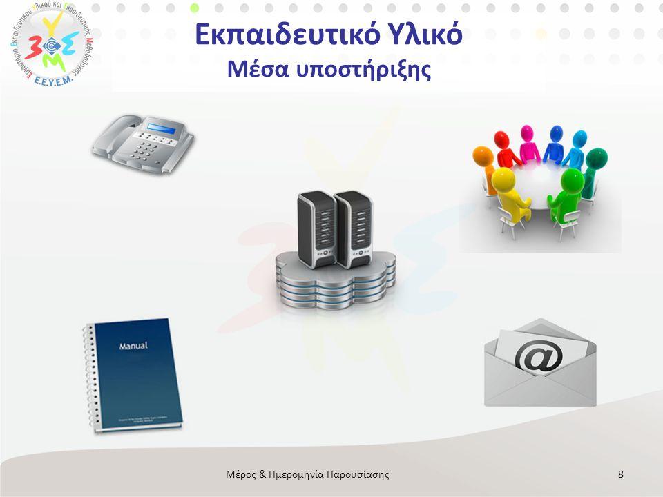 Εκπαιδευτικό Υλικό Μέσα υποστήριξης 8Μέρος & Ημερομηνία Παρουσίασης