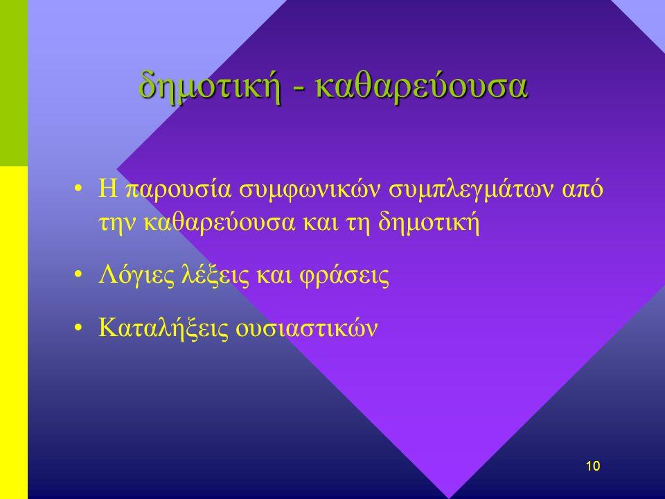 9 Προβλήματα δημοτικήδημοτική - καθαρεύουσα ποιαποια γλώσσα;Γραμματική γλώσσα;Γραμματική γλώσσα/ δομή/ γλώσσα σώματος φωνολογικέςφωνολογικές δυσκολίες