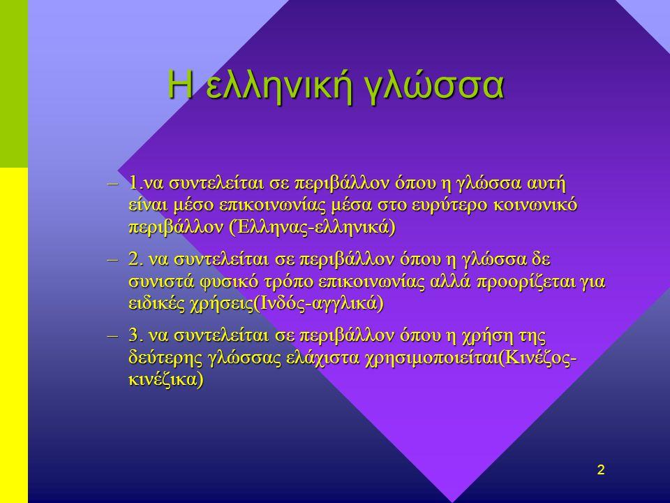 2 Η ελληνική γλώσσα –1.να συντελείται σε περιβάλλον όπου η γλώσσα αυτή είναι μέσο επικοινωνίας μέσα στο ευρύτερο κοινωνικό περιβάλλον (Έλληνας-ελληνικά) –2.