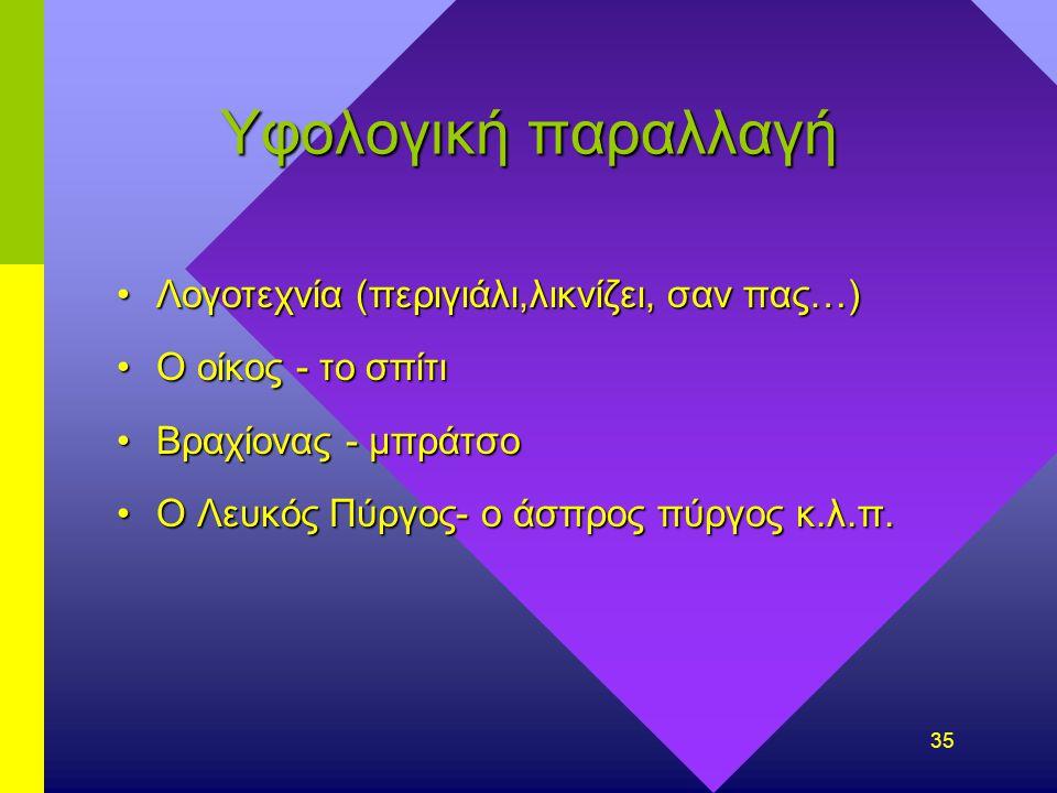 34 Παραλλαγές Στην προφορά ( υπερωικό λ στη Μακεδονία) Μπ,ντ,γκ στην Αθήνα
