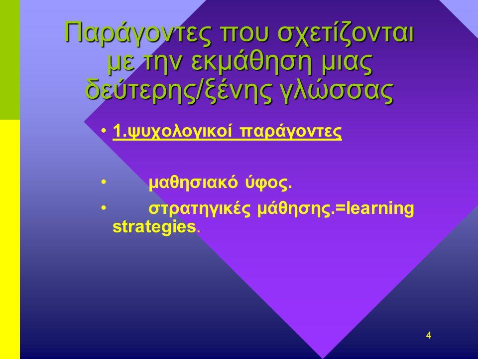 4 Παράγοντες που σχετίζονται με την εκμάθηση μιας δεύτερης/ξένης γλώσσας 1.ψυχολογικοί παράγοντες μαθησιακό ύφος.