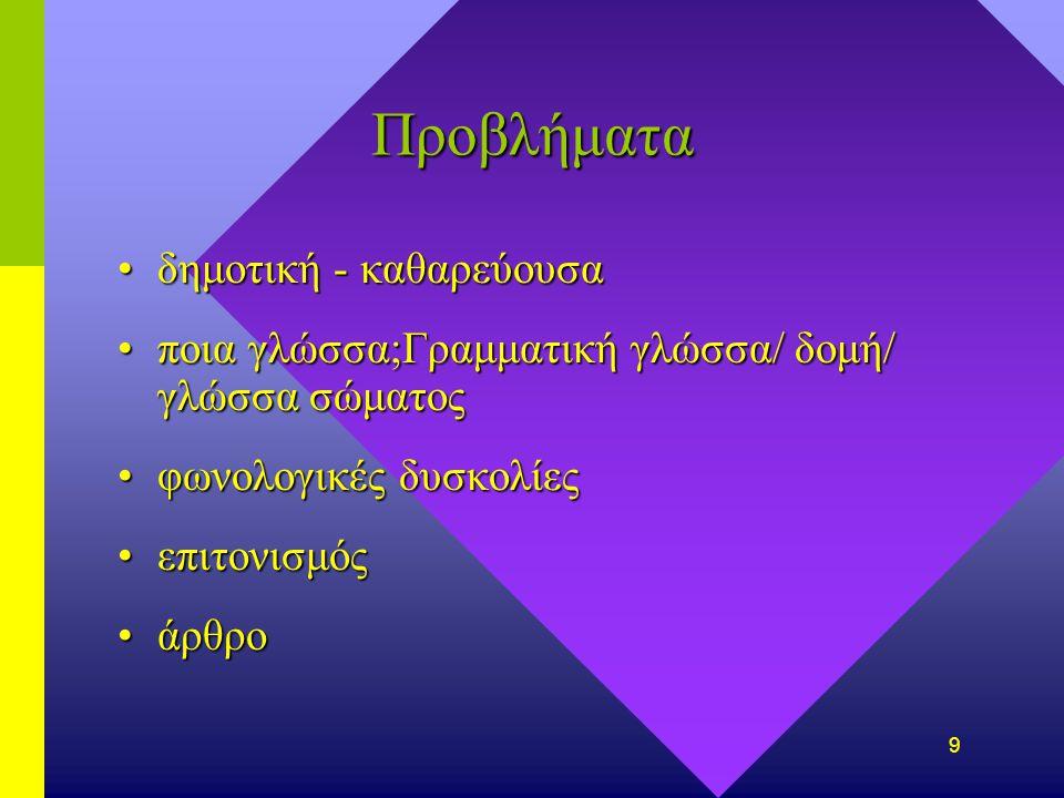 9 Προβλήματα δημοτικήδημοτική - καθαρεύουσα ποιαποια γλώσσα;Γραμματική γλώσσα;Γραμματική γλώσσα/ δομή/ γλώσσα σώματος φωνολογικέςφωνολογικές δυσκολίες επιτονισμόςεπιτονισμός άρθροάρθρο