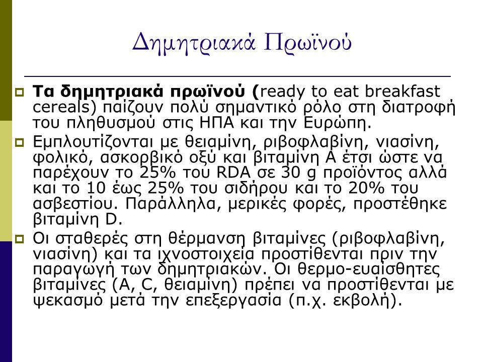 Δημητριακά Πρωϊνού  Τα δημητριακά πρωϊνού (ready to eat breakfast cereals) παίζουν πολύ σημαντικό ρόλο στη διατροφή του πληθυσμού στις ΗΠΑ και την Ευρώπη.