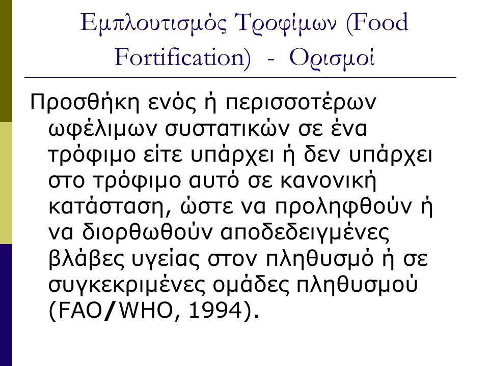 Εμπλουτισμός Τροφίμων (Food Fortification) - Ορισμοί Προσθήκη ενός ή περισσοτέρων ωφέλιμων συστατικών σε ένα τρόφιμο είτε υπάρχει ή δεν υπάρχει στο τρόφιμο αυτό σε κανονική κατάσταση, ώστε να προληφθούν ή να διορθωθούν αποδεδειγμένες βλάβες υγείας στον πληθυσμό ή σε συγκεκριμένες ομάδες πληθυσμού (FAO/WHO, 1994).