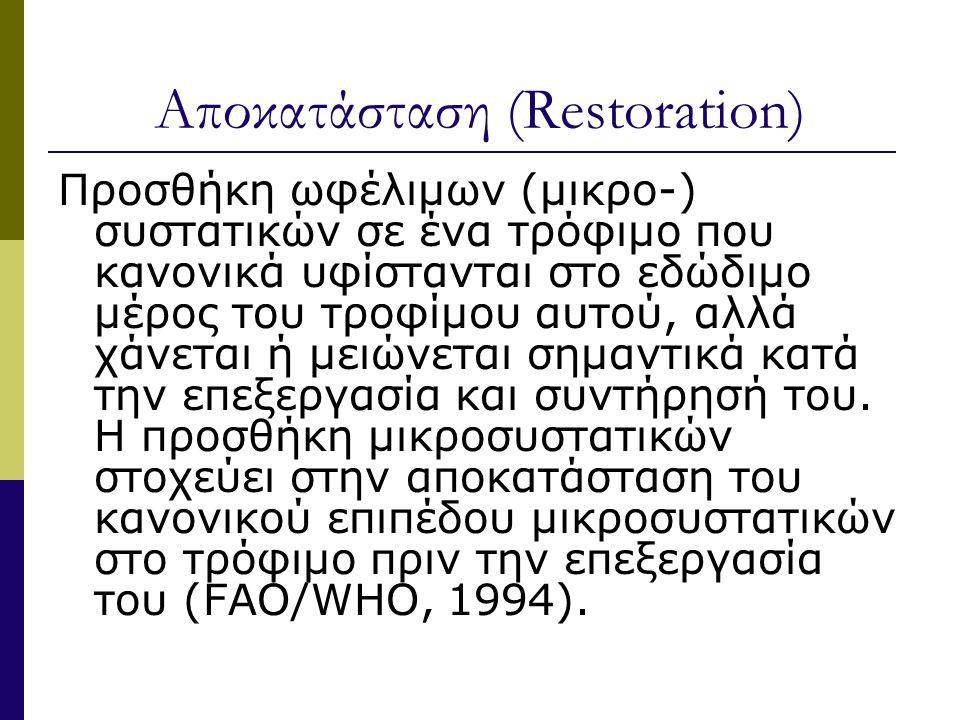 Αποκατάσταση (Restoration) Προσθήκη ωφέλιμων (μικρο-) συστατικών σε ένα τρόφιμο που κανονικά υφίστανται στο εδώδιμο μέρος του τροφίμου αυτού, αλλά χάνεται ή μειώνεται σημαντικά κατά την επεξεργασία και συντήρησή του.