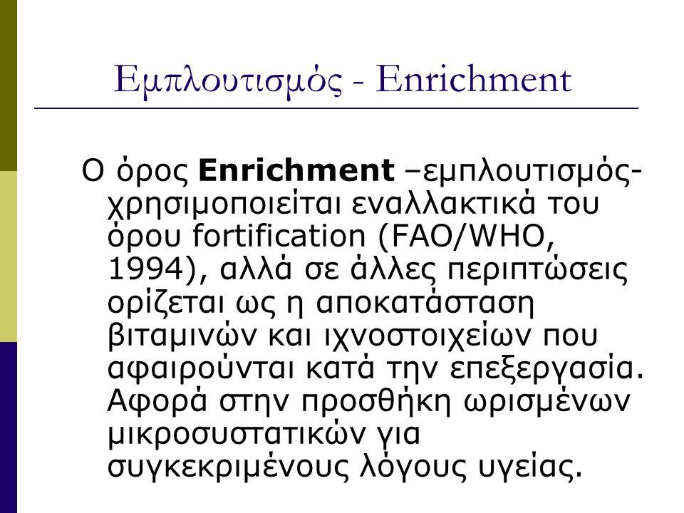 Εμπλουτισμός - Enrichment Ο όρος Enrichment –εμπλουτισμός- χρησιμοποιείται εναλλακτικά του όρου fortification (FAO/WHO, 1994), αλλά σε άλλες περιπτώσεις ορίζεται ως η αποκατάσταση βιταμινών και ιχνοστοιχείων που αφαιρούνται κατά την επεξεργασία.