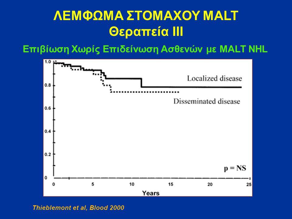 ΛΕΜΦΩΜΑ ΣΤΟΜΑΧΟΥ MALT Θεραπεία ΙΙΙ Επιβίωση Χωρίς Επιδείνωση Ασθενών με MALT NHL Thieblemont et al, Blood 2000