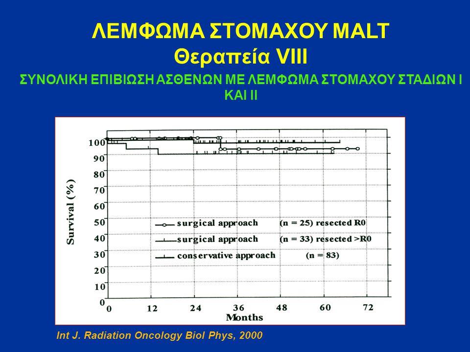 ΛΕΜΦΩΜΑ ΣΤΟΜΑΧΟΥ MALT Θεραπεία VΙΙΙ ΣΥΝΟΛΙΚΗ ΕΠΙΒΙΩΣΗ ΑΣΘΕΝΩΝ ΜΕ ΛΕΜΦΩΜΑ ΣΤΟΜΑΧΟΥ ΣΤΑΔΙΩΝ Ι ΚΑΙ ΙΙ Int J. Radiation Oncology Biol Phys, 2000