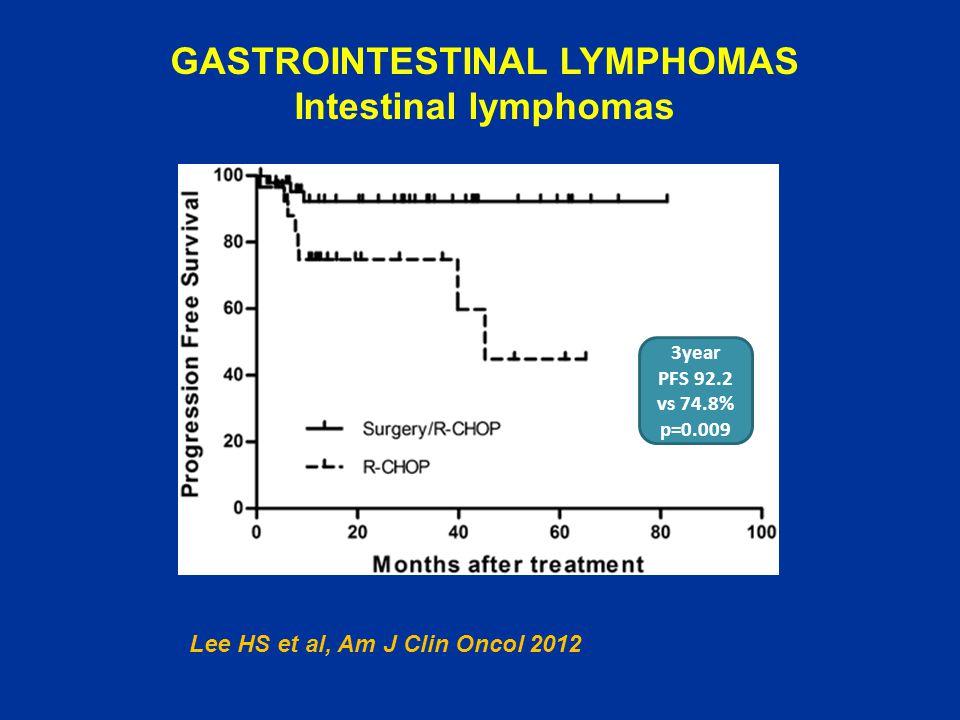 GASTROINTESTINAL LYMPHOMAS Intestinal lymphomas 3year PFS 92.2 vs 74.8% p=0.009 Lee HS et al, Am J Clin Oncol 2012