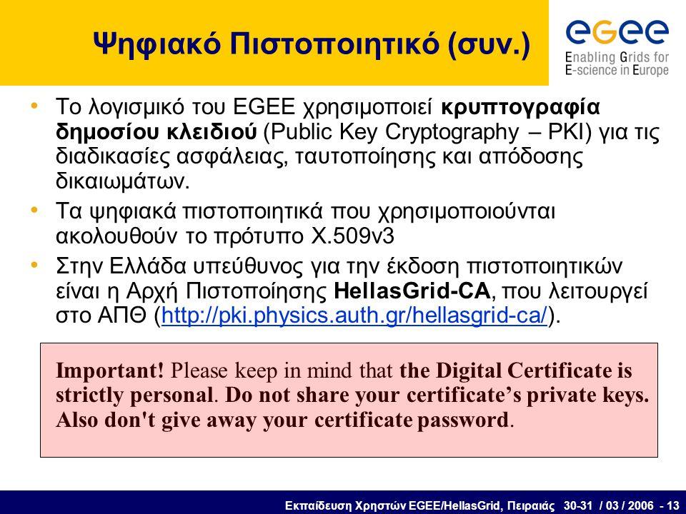 Εκπαίδευση Χρηστών EGEE/HellasGrid, Πειραιάς 30-31 / 03 / 2006 - 13 Ψηφιακό Πιστοποιητικό (συν.) Το λογισμικό του EGEE χρησιμοποιεί κρυπτογραφία δημοσίου κλειδιού (Public Key Cryptography – PKI) για τις διαδικασίες ασφάλειας, ταυτοποίησης και απόδοσης δικαιωμάτων.