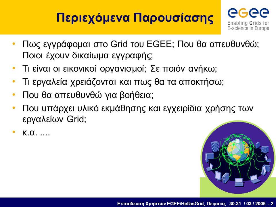Εκπαίδευση Χρηστών EGEE/HellasGrid, Πειραιάς 30-31 / 03 / 2006 - 2 Περιεχόμενα Παρουσίασης Πως εγγράφομαι στο Grid του EGEE; Που θα απευθυνθώ; Ποιοι έχουν δικαίωμα εγγραφής; Τι είναι οι εικονικοί οργανισμοί; Σε ποιόν ανήκω; Τι εργαλεία χρειάζονται και πως θα τα αποκτήσω; Που θα απευθυνθώ για βοήθεια; Που υπάρχει υλικό εκμάθησης και εγχειρίδια χρήσης των εργαλείων Grid; κ.α.....