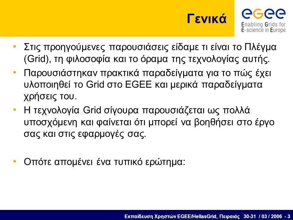 Εκπαίδευση Χρηστών EGEE/HellasGrid, Πειραιάς 30-31 / 03 / 2006 - 3 Γενικά Στις προηγούμενες παρουσιάσεις είδαμε τι είναι το Πλέγμα (Grid), τη φιλοσοφία και το όραμα της τεχνολογίας αυτής.