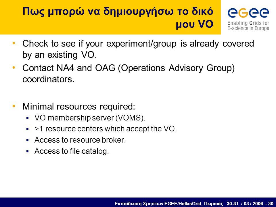 Εκπαίδευση Χρηστών EGEE/HellasGrid, Πειραιάς 30-31 / 03 / 2006 - 30 Πως μπορώ να δημιουργήσω το δικό μου VO Check to see if your experiment/group is already covered by an existing VO.