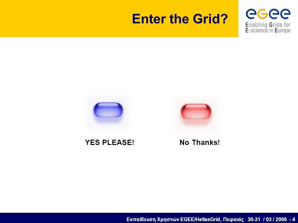Εκπαίδευση Χρηστών EGEE/HellasGrid, Πειραιάς 30-31 / 03 / 2006 - 4 Enter the Grid.
