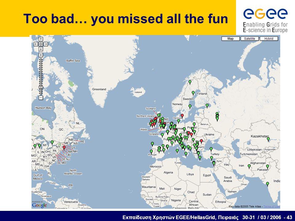 Εκπαίδευση Χρηστών EGEE/HellasGrid, Πειραιάς 30-31 / 03 / 2006 - 43 Too bad… you missed all the fun