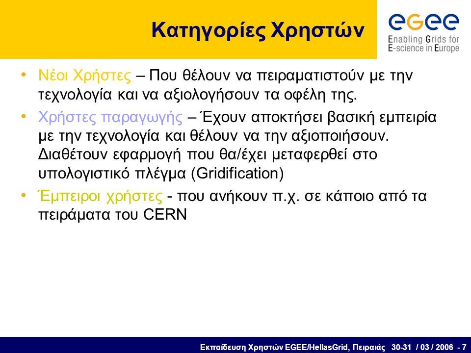 Εκπαίδευση Χρηστών EGEE/HellasGrid, Πειραιάς 30-31 / 03 / 2006 - 7 Κατηγορίες Χρηστών Νέοι Χρήστες – Που θέλουν να πειραματιστούν με την τεχνολογία και να αξιολογήσουν τα οφέλη της.