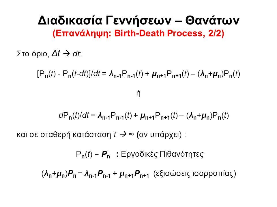 Διαδικασία Γεννήσεων – Θανάτων (Επανάληψη: Birth-Death Process, 2/2) Στο όριο, Δt  dt: [P n (t) - P n (t-dt)]/dt = λ n-1 P n-1 (t) + μ n+1 P n+1 (t) – (λ n +μ n )P n (t) ή dP n (t)/dt = λ n-1 P n-1 (t) + μ n+1 P n+1 (t) – (λ n +μ n )P n (t) και σε σταθερή κατάσταση t  ∞ (αν υπάρχει) : P n (t) = P n : Εργοδικές Πιθανότητες (λ n +μ n )P n = λ n-1 P n-1 + μ n+1 P n+1 (εξισώσεις ισορροπίας)