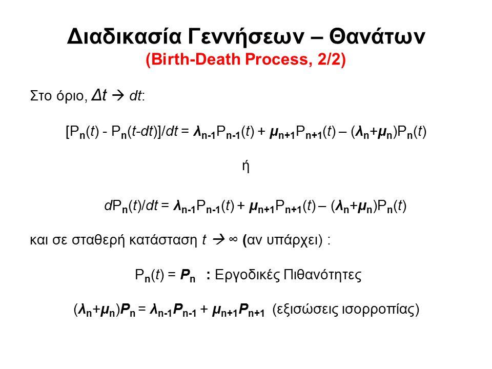 Διαδικασία Γεννήσεων – Θανάτων (Birth-Death Process, 2/2) Στο όριο, Δt  dt: [P n (t) - P n (t-dt)]/dt = λ n-1 P n-1 (t) + μ n+1 P n+1 (t) – (λ n +μ n )P n (t) ή dP n (t)/dt = λ n-1 P n-1 (t) + μ n+1 P n+1 (t) – (λ n +μ n )P n (t) και σε σταθερή κατάσταση t  ∞ (αν υπάρχει) : P n (t) = P n : Εργοδικές Πιθανότητες (λ n +μ n )P n = λ n-1 P n-1 + μ n+1 P n+1 (εξισώσεις ισορροπίας)