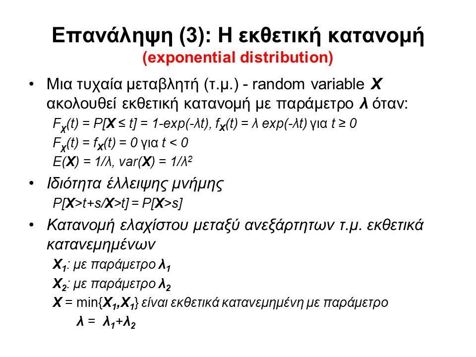 Επανάληψη (3): Η εκθετική κατανομή (exponential distribution) Μια τυχαία μεταβλητή (τ.μ.) - random variable Χ ακολουθεί εκθετική κατανομή με παράμετρο λ όταν: F χ (t) = P[X ≤ t] = 1-exp(-λt), f Χ (t) = λ exp(-λt) για t ≥ 0 F χ (t) = f Χ (t) = 0 για t < 0 E(Χ) = 1/λ, var(Χ) = 1/λ 2 Ιδιότητα έλλειψης μνήμης P[X>t+s/X>t] = P[X>s] Κατανομή ελαχίστου μεταξύ ανεξάρτητων τ.μ.