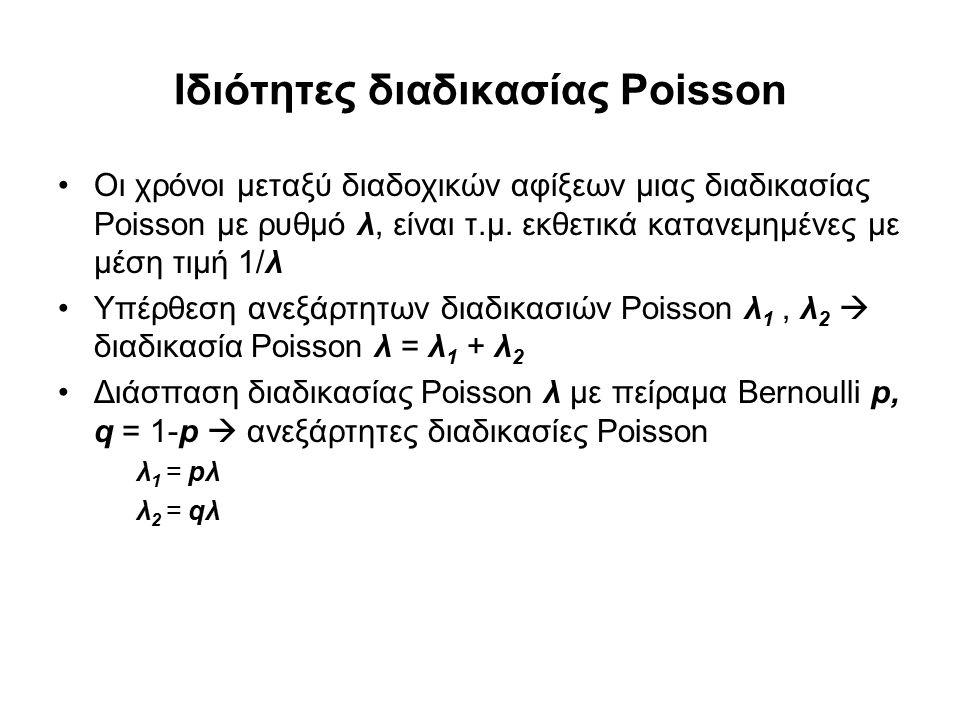 Διαδικασία Γεννήσεων – Θανάτων (Birth-Death Process,1/2) Παραδοχές: –Ανεξαρτησία γεννήσεων-θανάτων –Εξέλιξη βασισμένη στο παρόν (Markov) Σύστημα Διαφορικών εξισώσεων Διαφορών –Κατάσταση ισορροπίας (steady state) –Την χρονική στιγμή t όταν το σύστημα καταλήγει σε πληθυσμό n > 0 μπορεί να έχουν προηγηθεί οι ακόλουθες μεταβάσεις από την χρονική στιγμή t-Δt, Δt  0: Μία άφιξη στο διάστημα Δt, με πιθανότητα λ n-1 Δt Μια αναχώρηση, με πιθανότητα μ n+1 Δt Τίποτα από τα δύο, με πιθανότητα 1 - (λ n +μ n )Δt –Η εξίσωση μετάβασης (Chapman - Kolmogorov) προκύπτει από τον τύπο συνολικής πιθανότητας: P n (t) = λ n-1 Δt P n-1 (t-Δt) + μ n+1 Δt P n+1 (t-Δt) + [1- (λ n +μ n )Δt] P n (t-Δt)