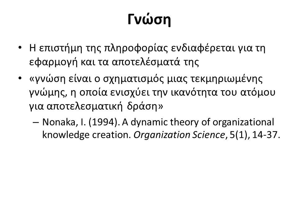 Γνώση Η επιστήμη της πληροφορίας ενδιαφέρεται για τη εφαρμογή και τα αποτελέσματά της «γνώση είναι ο σχηματισμός μιας τεκμηριωμένης γνώμης, η οποία ενισχύει την ικανότητα του ατόμου για αποτελεσματική δράση» – Nonaka, I.