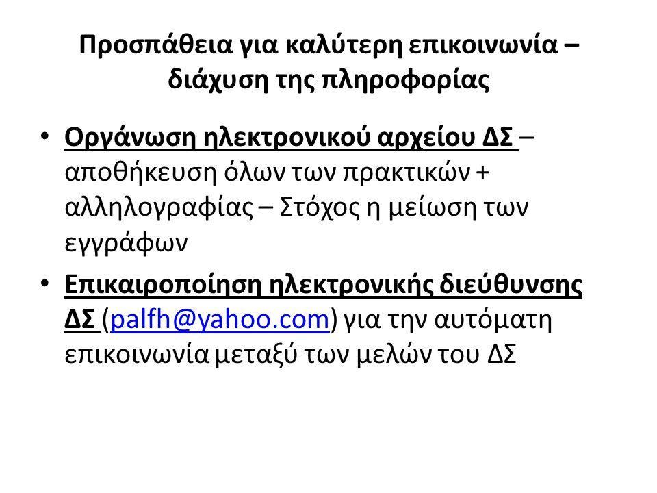 Προσπάθεια για καλύτερη επικοινωνία – διάχυση της πληροφορίας Οργάνωση ηλεκτρονικού αρχείου ΔΣ – αποθήκευση όλων των πρακτικών + αλληλογραφίας – Στόχος η μείωση των εγγράφων Επικαιροποίηση ηλεκτρονικής διεύθυνσης ΔΣ (palfh@yahoo.com) για την αυτόματη επικοινωνία μεταξύ των μελών του ΔΣpalfh@yahoo.com