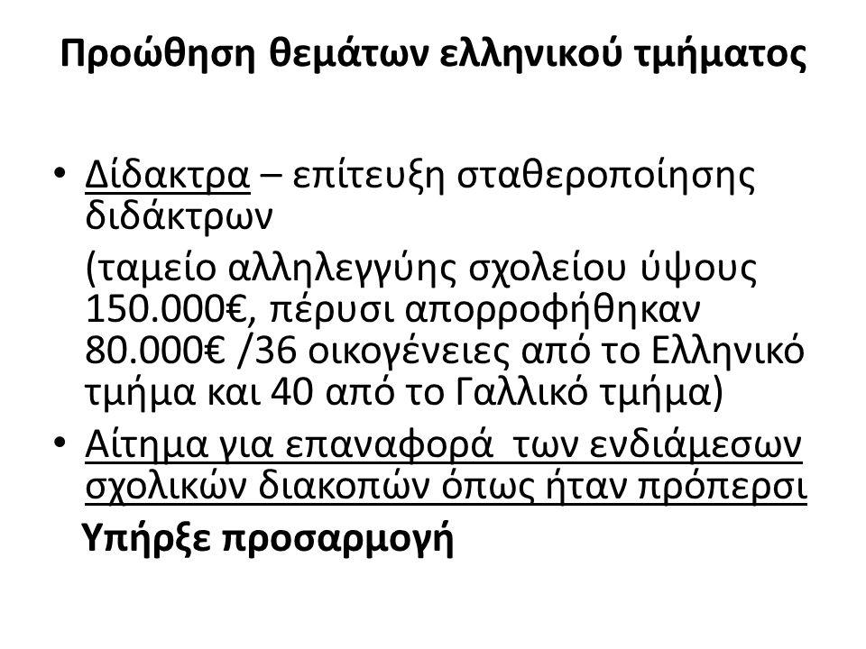 Προώθηση θεμάτων ελληνικού τμήματος Δίδακτρα – επίτευξη σταθεροποίησης διδάκτρων (ταμείο αλληλεγγύης σχολείου ύψους 150.000€, πέρυσι απορροφήθηκαν 80.000€ /36 οικογένειες από το Ελληνικό τμήμα και 40 από το Γαλλικό τμήμα) Αίτημα για επαναφορά των ενδιάμεσων σχολικών διακοπών όπως ήταν πρόπερσι Υπήρξε προσαρμογή