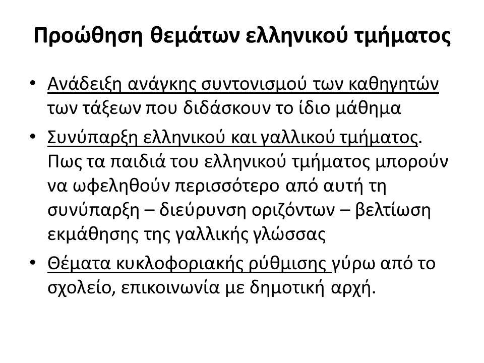 Προώθηση θεμάτων ελληνικού τμήματος Ανάδειξη ανάγκης συντονισμού των καθηγητών των τάξεων που διδάσκουν το ίδιο μάθημα Συνύπαρξη ελληνικού και γαλλικού τμήματος.