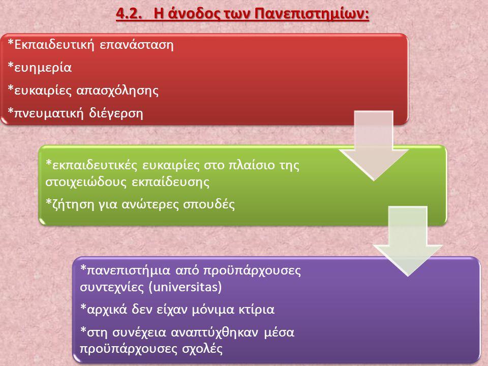 4.2. Η άνοδος των Πανεπιστημίων: 23 *Εκπαιδευτική επανάσταση *ευημερία *ευκαιρίες απασχόλησης *πνευματική διέγερση *εκπαιδευτικές ευκαιρίες στο πλαίσι