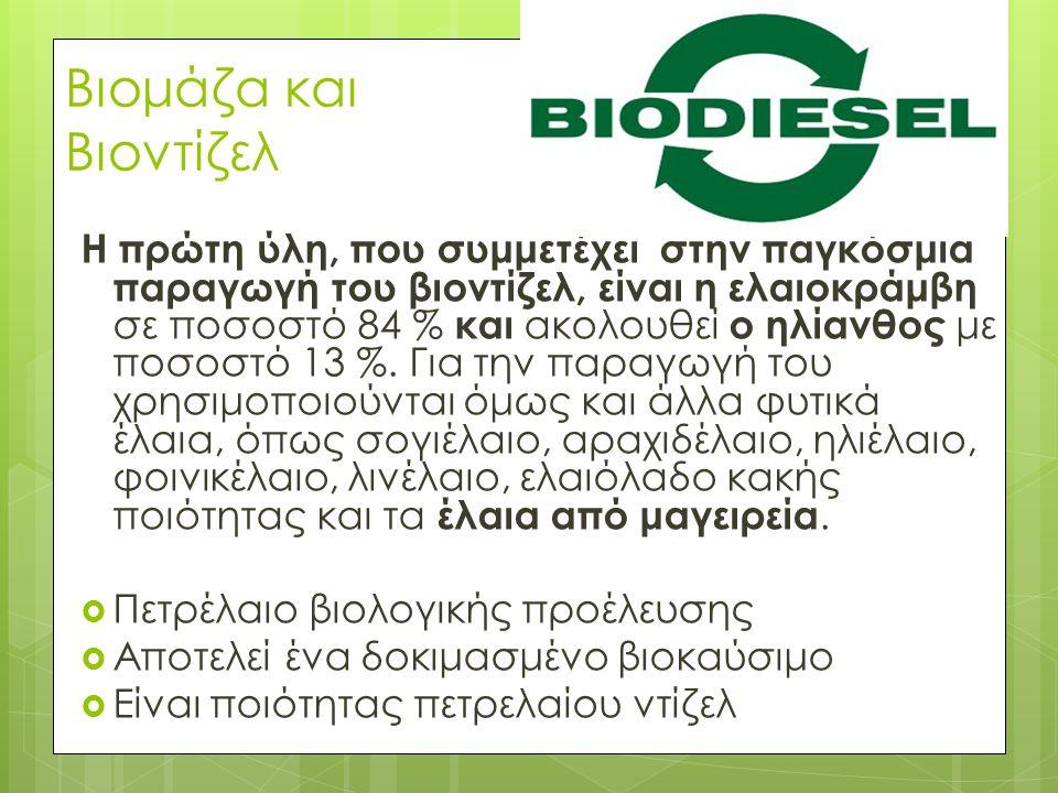 Βιομάζα και Βιοντίζελ Η πρώτη ύλη, που συμμετέχει στην παγκόσμια παραγωγή του βιοντίζελ, είναι η ελαιοκράμβη σε ποσοστό 84 % και ακολουθεί ο ηλίανθος με ποσοστό 13 %.