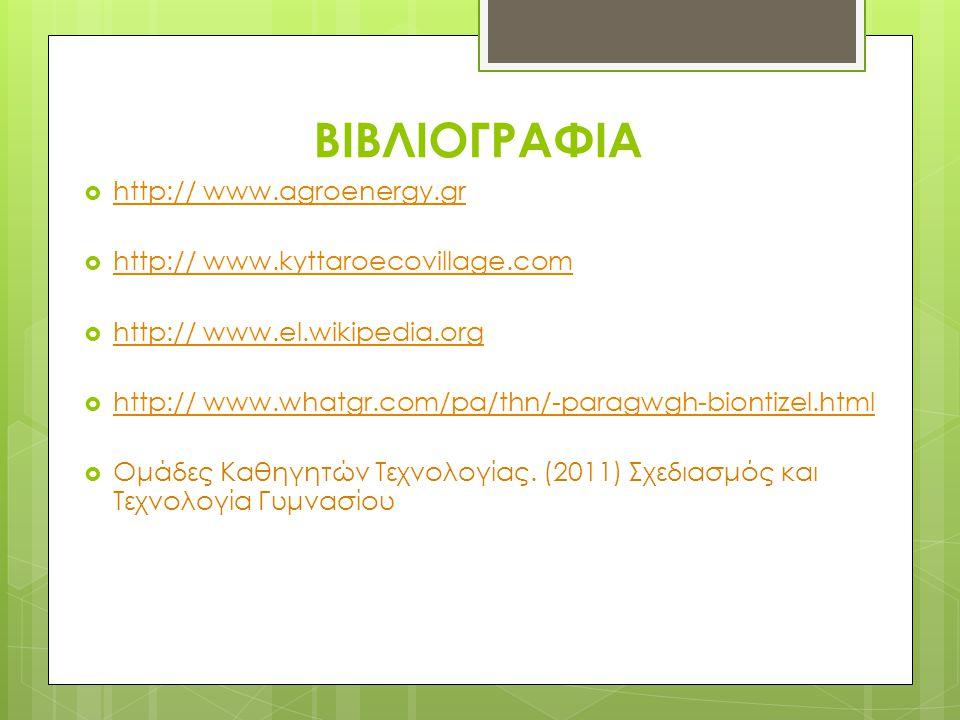 ΒΙΒΛΙΟΓΡΑΦΙΑ  http:// www.agroenergy.gr http:// www.agroenergy.gr  http:// www.kyttaroecovillage.com http:// www.kyttaroecovillage.com  http:// www.el.wikipedia.org http:// www.el.wikipedia.org  http:// www.whatgr.com/pa/thn/-paragwgh-biontizel.html http:// www.whatgr.com/pa/thn/-paragwgh-biontizel.html  Ομάδες Καθηγητών Τεχνολογίας.