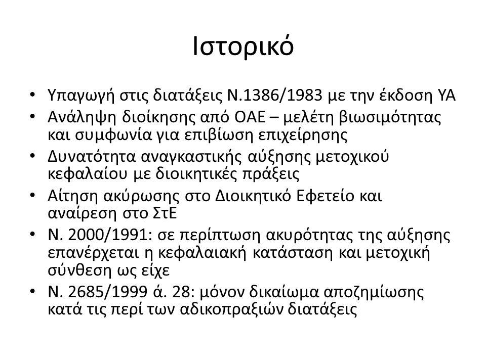 Ιστορικό Υπαγωγή στις διατάξεις Ν.1386/1983 με την έκδοση ΥΑ Ανάληψη διοίκησης από ΟΑΕ – μελέτη βιωσιμότητας και συμφωνία για επιβίωση επιχείρησης Δυνατότητα αναγκαστικής αύξησης μετοχικού κεφαλαίου με διοικητικές πράξεις Αίτηση ακύρωσης στο Διοικητικό Εφετείο και αναίρεση στο ΣτΕ Ν.
