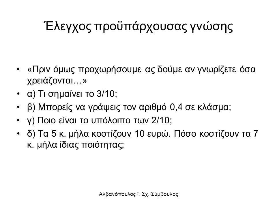 Έλεγχος προϋπάρχουσας γνώσης «Πριν όμως προχωρήσουμε ας δούμε αν γνωρίζετε όσα χρειάζονται…» α) Τι σημαίνει το 3/10; β) Μπορείς να γράψεις τον αριθμό 0,4 σε κλάσμα; γ) Ποιο είναι το υπόλοιπο των 2/10; δ) Τα 5 κ.
